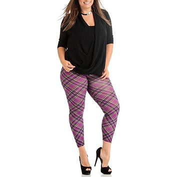 Plus Size Violet Patch Plain Women's Leggings