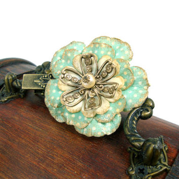 Vintage Style Mint Floral Hair Clip - Mint Flower Hair Clip - Antique Brass - Bridesmaid Gift - Bronze and Mint Hair Accessories
