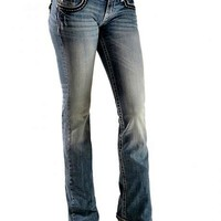 Miss Me-Black & Silver Embellished Bootcut Jeans