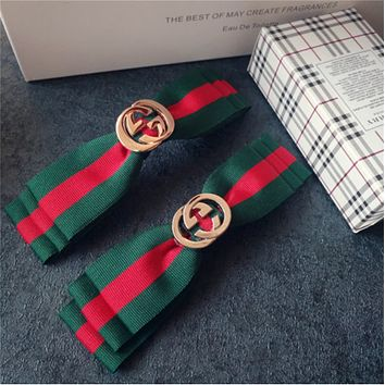 GUCCI cloth bow clip hair clip top folder red and green grid bangs clip hair accessories Spring clip models