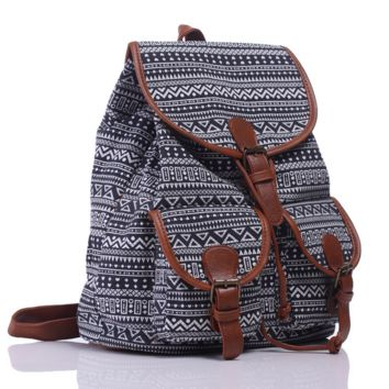 Black Chevron Ethnic Aztec Geometry Canvas Backpack Casual Daypack