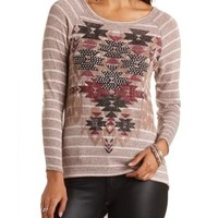 Rhinestone Aztec Sweater Knit Top by Charlotte Russe