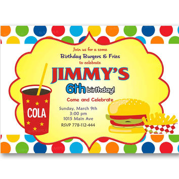Colorful Burgers  Polka Dot Kids Birthday Invitation Party Design