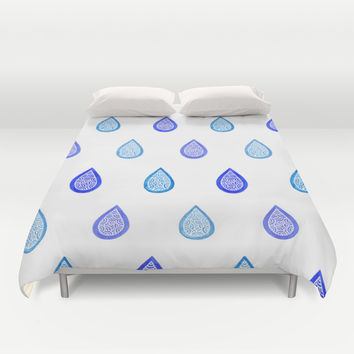 Blue raindrops Duvet Cover by Savousepate