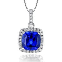 Sterling Silver 3.5ct Cushion Cut Sapphire Pendant Necklace