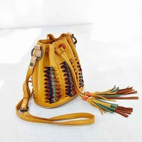 Frye Heather Woven Leather Bucket Bag- Mustard One