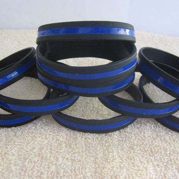 Silicone Thin Blue Line Bracelet Blue Police lives Matter Police Support Wristband
