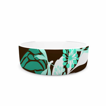 "Amy Reber ""Bold Relief"" Green Brown Pet Bowl"