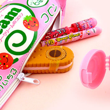 Buy Strawberry Cream Collon Pencil Case with Sharpener at Tofu Cute