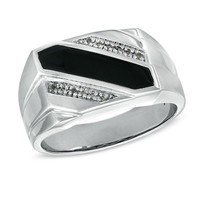 Men's Onyx and Diamond Accent Triple Row Slant Ring in 10K White Gold - Peoples Jewellers Men's Onyx and Diamond Accent Triple Row Slant Ring in 10K White Gold - - Clearance - Peoples Jewellers