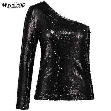 Sexy Women One Shoulder Sequin Shirt Top Black Long Sleeve Sloping Shoulder Blouse Top Glitter Slim Clubwear Party Top