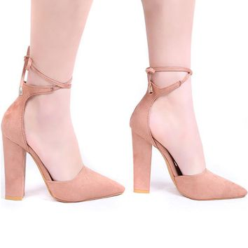 Pointed Strappy Pumps Sexy Retro High Thick Heels Shoes Woman Shoes Female Lace Up Shoes