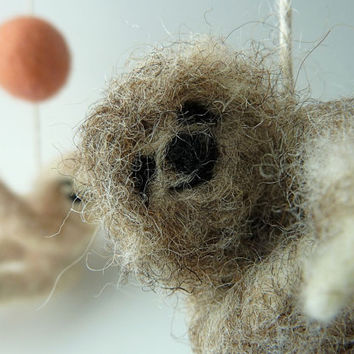 Baby Mobile, Felted Wooly Sloths, Custom made to order
