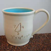 Incorrect Math Mug in Turquoise 20 oz. Teacher Pottery Coffee Mug