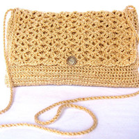 Crocheted Gold Evening Bag With Embossed Gold Tone Button and Thin Shoulder Cord Unlined
