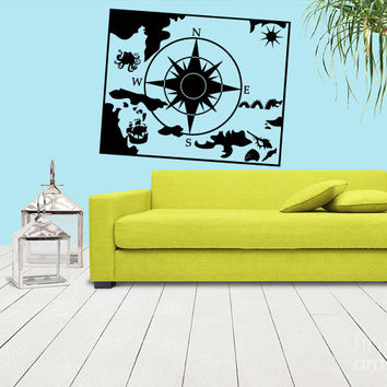 Wall Vinyl Sticker Decals Decor Art Map compass squid colmar ship (z1149)