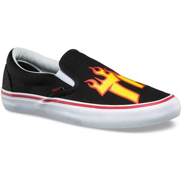 Vans x Thrasher Slip-On Pro Sneakers (Thrasher Black) Men's Skate Mag Shoes
