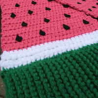 Crocheted Giant Watermelon Scarf, Cute for Summer, READY TO SHIP