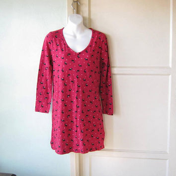 Scoop Neck Scottie Dog Print Red Nightie; Cotton Knit Women's Red Medium-Large Sleep Shirt; U.S. Shipping Included