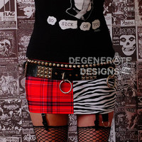Red Plaid and Zebra Print Split PUNK Skirt Street Punk Clothing Animal Print Punx Mini Skirt XS-XXL