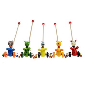Baby Wooden Animals Cartoon Trolley Toys Montessori Intellectual Colorful Putting Toddler Blocks Trolley Kids Wood Toys