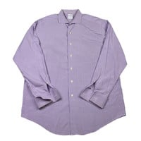 Vintage Brooks Brothers Purple Check French Cuff Button Up Shirt Made in USA Mens Size 17-35