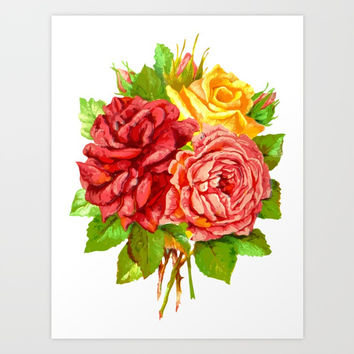 Rose Flower Bouquet Art Print by Smyrna