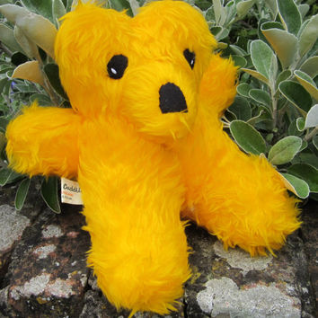 Sleepy Teddy Cuddly Toy Yellow Plush Art Doll Furry Bear Collectable Golden Plush Cuddly Safe Pram or Cot Toy