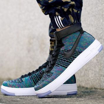 Nike Air Force 1 Flyknit Mid-High 817420-002 Blue For Women Men Sneakers