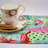 Amy Butler Fabric Snack Mat, Mug Rug - Aqua, Pink, Green, Reversible, Mat, Pad, Hot Pad, Coaster