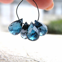 Topaz Briolette AAA London Blue Topaz Gemstone Outstanding Gem Quality Faceted 3-D TearDrop Briolettes Top Drilled 10mm Set of 4