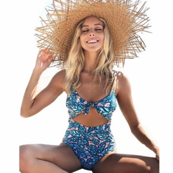 2018 printed stitching chest knot swimsuit