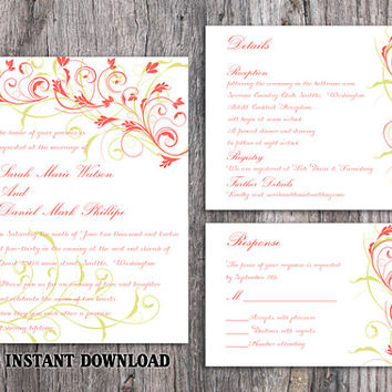 DIY Wedding Invitation Template Set Editable Word File Download Printable Invitation Elegant Coral Invitations Green Floral Invitation