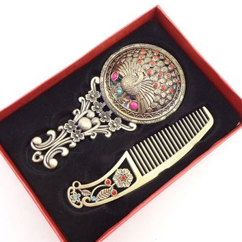 Hot Wonderful Elegance Cosmetic Set Box Mirrors Bronze Handheld Comb Compact Mirror Hollow