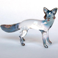 Fox Figurine Hand Blown Glass Gold Crystal Sculpture