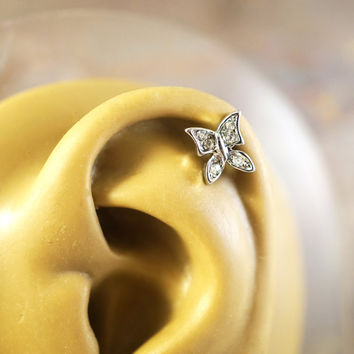 Sparkly Silver Butterfly Cartliage Earring Tragus Conch Helix Piercing