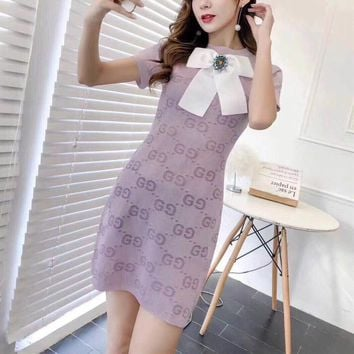 """Gucci"" Women Fashion Temperament Bow GG Letter Short Sleeve Mini Dress"