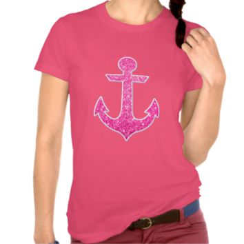 Pink glitter anchor blue chevron t shirt