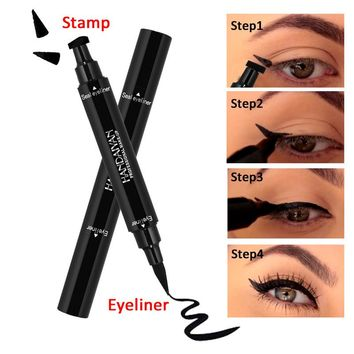 Double Ended Black Eyeliner Liquid Pencil & Eyeliner Stamp Long Lasting Cat Eye New Wing Style Eyes Makeup Eye Liner Stamps