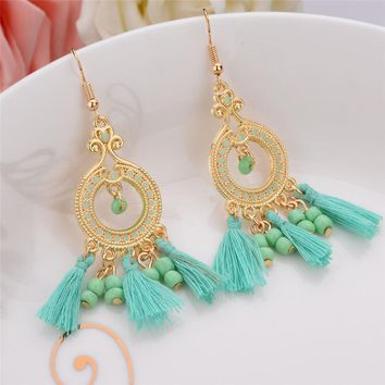 5 Colors Indian Ethnic Jewelry Earrings Gold Plated Long Plastic Beads Drop Earrings With Lines Women Christmas Gift green