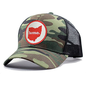 Homeland Tees Men's Ohio Home State Army Camo Trucker Hat - Red