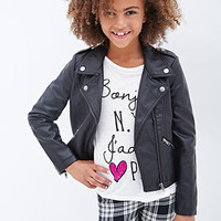 FOREVER 21 GIRLS Faux Leather Moto Jacket (Kids)