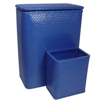Redmon Company 4262CB Chelsea Coastal Blue Hamper and Matching Wastebasket Set
