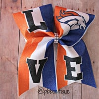 Football: Glitter Denver Broncos Love Cheer Bow Soccer Bow or Softball Bow