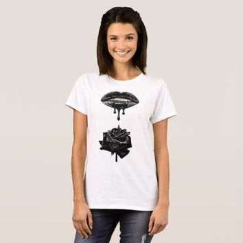 Black Lips Dripping Liquid on Black Rose Art T-Shirt