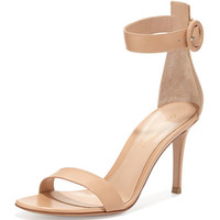 Gianvito Rossi Leather Ankle-Strap Simple Sandal, Nude