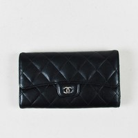 "Chanel Black Lambskin Leather Quilted ""L Flap"" Wallet"