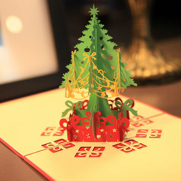 1Pc Handcrafted Origami 3D Greeting Christmas Xmas Card Pop Up Card White Envelope Postcards Birthday Gift Event Party Supplies