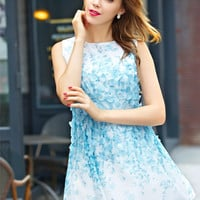 Petals Beaded Sleeveless Chiffon Dress