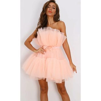 Birthday Girl Puffy Strapless Satin Bow Belt Pleated Ruffle Tulle Poofy Skater Flare Mini Dress - 3 Colors Available